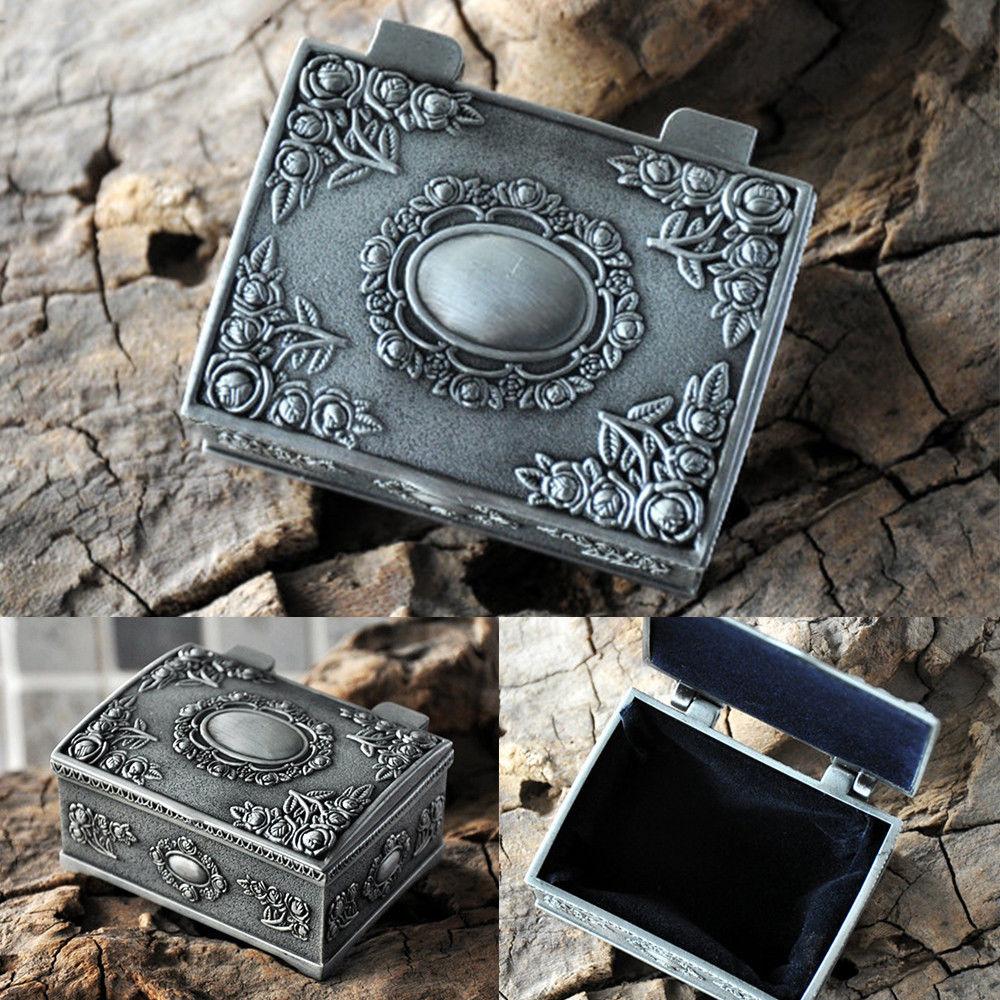 Fashion Metal Jewelry Casket Vintage Trinket Box Earrings Rings Packing Case
