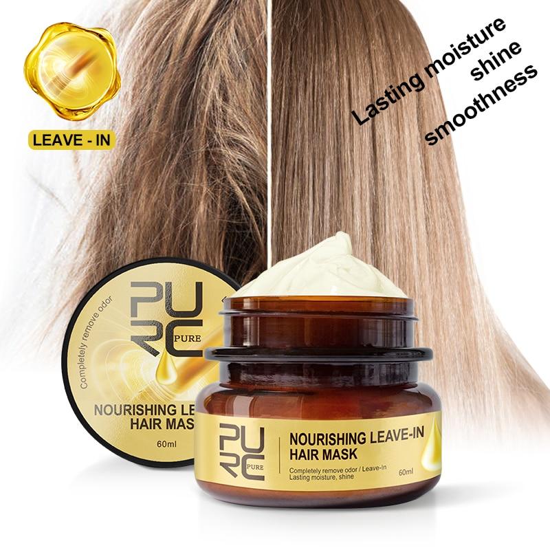 PURC 60ml nutritivo deja en el pelo máscara mágica queratina tratamiento del cabello reparación profunda cabello dañado fortalece la dureza del cabello TSLM1