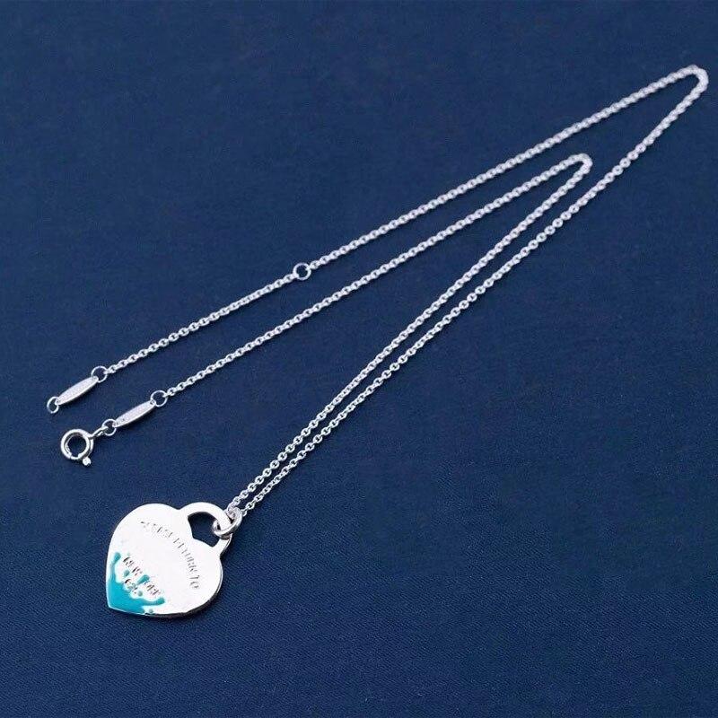 جديد 1:1 الأصلي 925 فضة الحصري الفاخرة موضة المينا سبلاش القلب العلامة التجارية عقد للسيدات هدية عيد