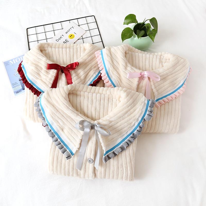 Fdfklak Flannel Pijama Maternal Feeding Pajamas Confinement 2020 Autumn Winter New Maternity Clothes For Nursing Mothers enlarge