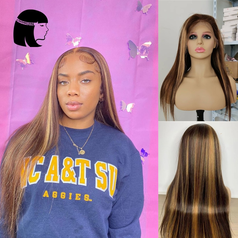 Honey Blonde Straight Frontal Wig Transparent Lace Wigs Highlight Lace Front Human Hair Wigs T Part