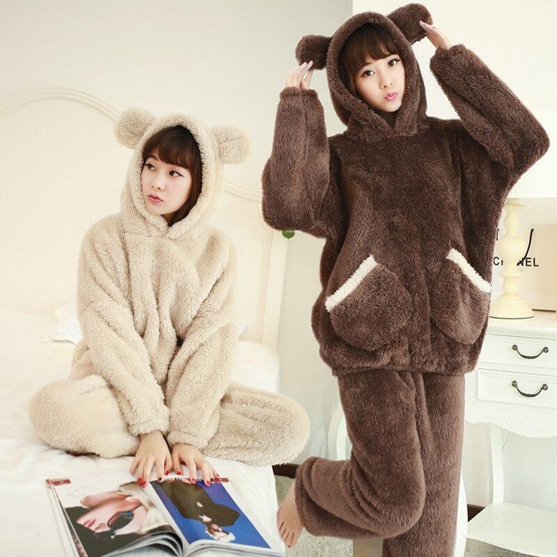 Autumn and winter long sleeve womens pajamas black bear hooded pajamas winter women's thickene sleepwear flannel suit