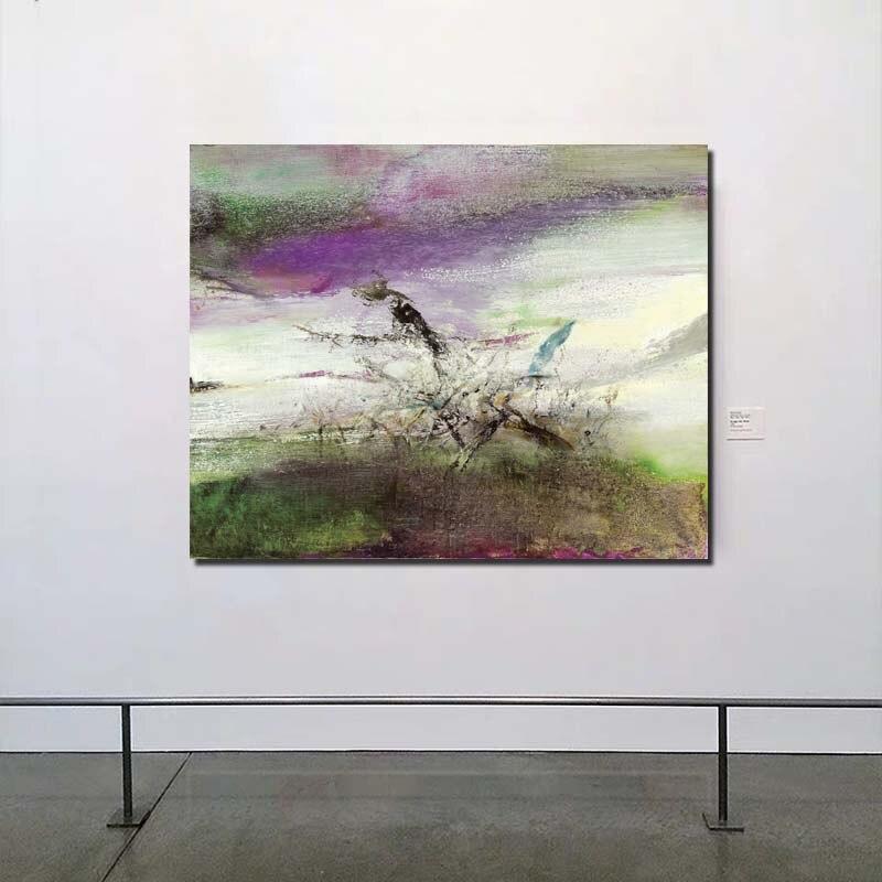 Zao wou ki cena abstrata arte da parede pintura em tela poster cópias pintura moderna imagem da parede para sala de estar decoração casa arte
