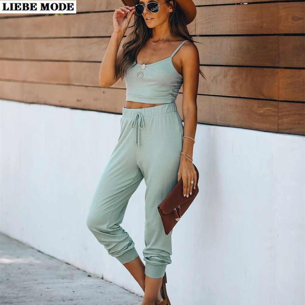 2021 Spring Summer Womens Casual 2 Piece Set Outfit Clothing Spaghetti Strap Crop Top and Pants Suit Sportwear Tracksuits