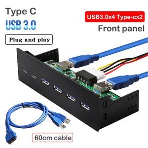 Передняя панель usb type c USB3.0 hub Plug and play 60 см кабель без внешнего источника питания, система поддержки супер скорости Windows10/8/7/Vista