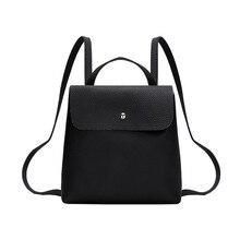 Mini mochilas elegantes de cuero para hombro de marca de lujo para mujer Mochila escolar con cremallera Mochila para niñas Color puro libro informal Mochila