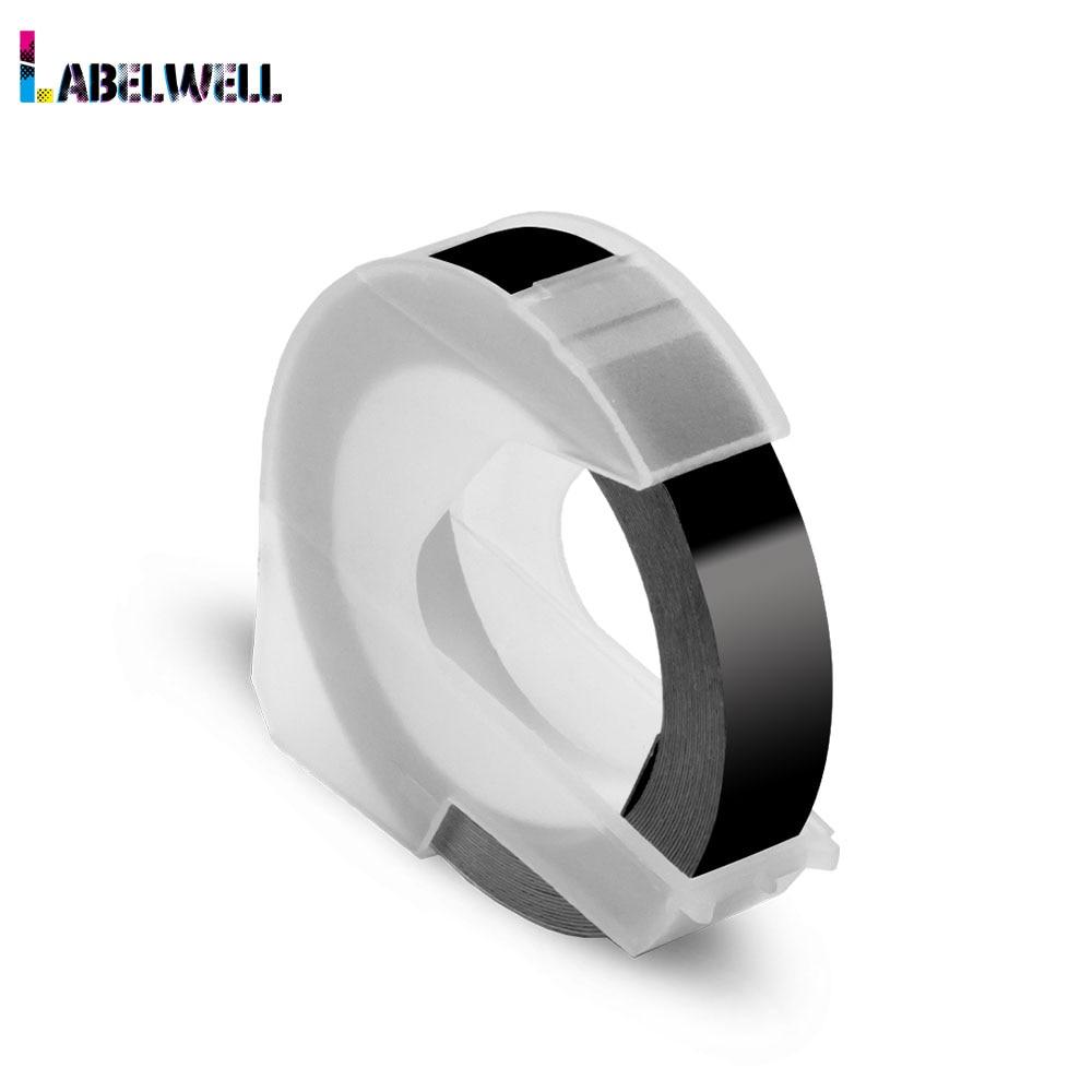 Labelwell noir couleur 9mm 3D plastique gaufrage ruban compatible pour Dymo 1540, 1755, 1880, 12965, 12966, Motex E-101 étiqueteuse