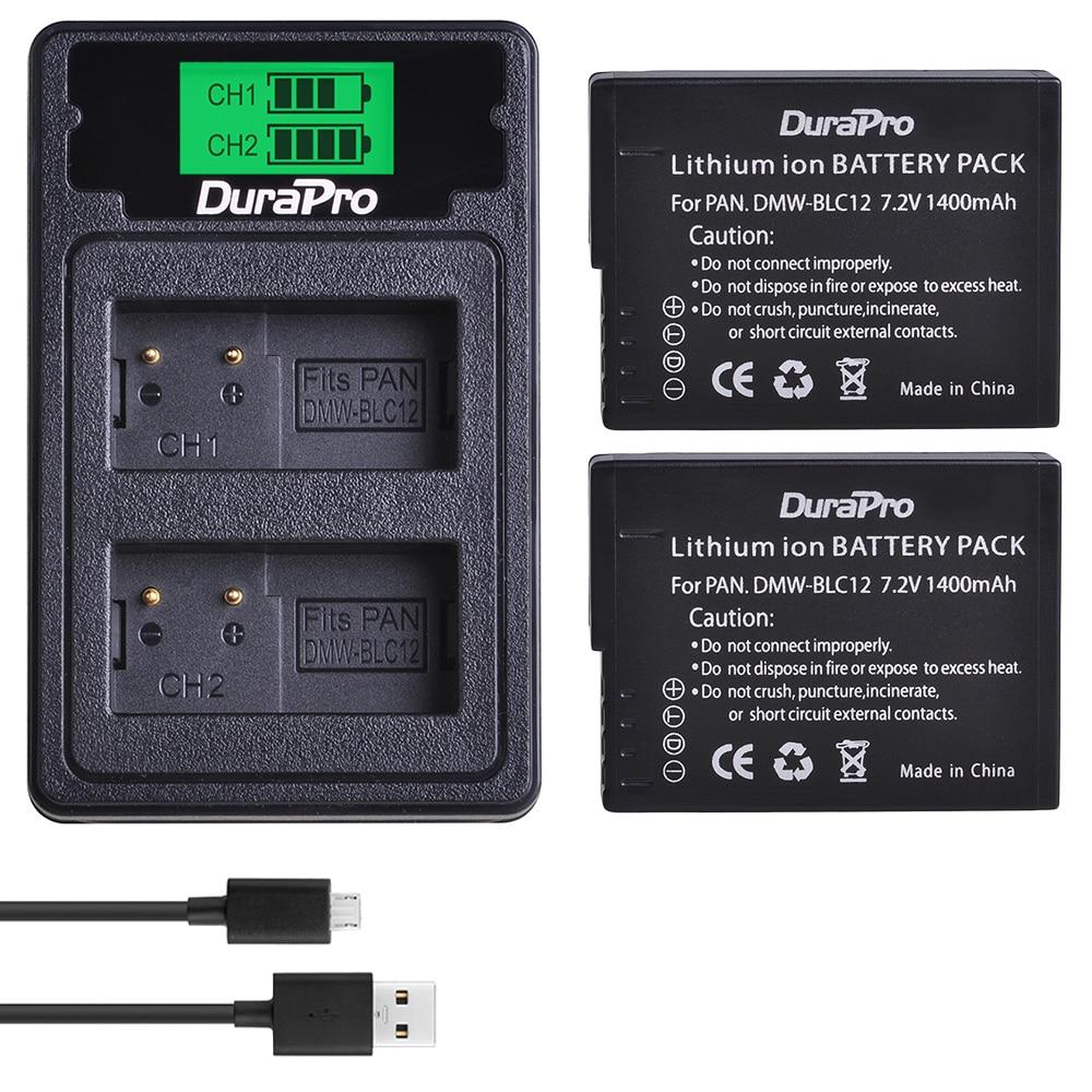 2PC 1400mAh DMW-BLC12 BLC12E reemplazo de la batería + LCD USB cargador para Panasonic FZ1000 FZ200 FZ300 G5 G6 G7 GH2 BLC12 Cámara