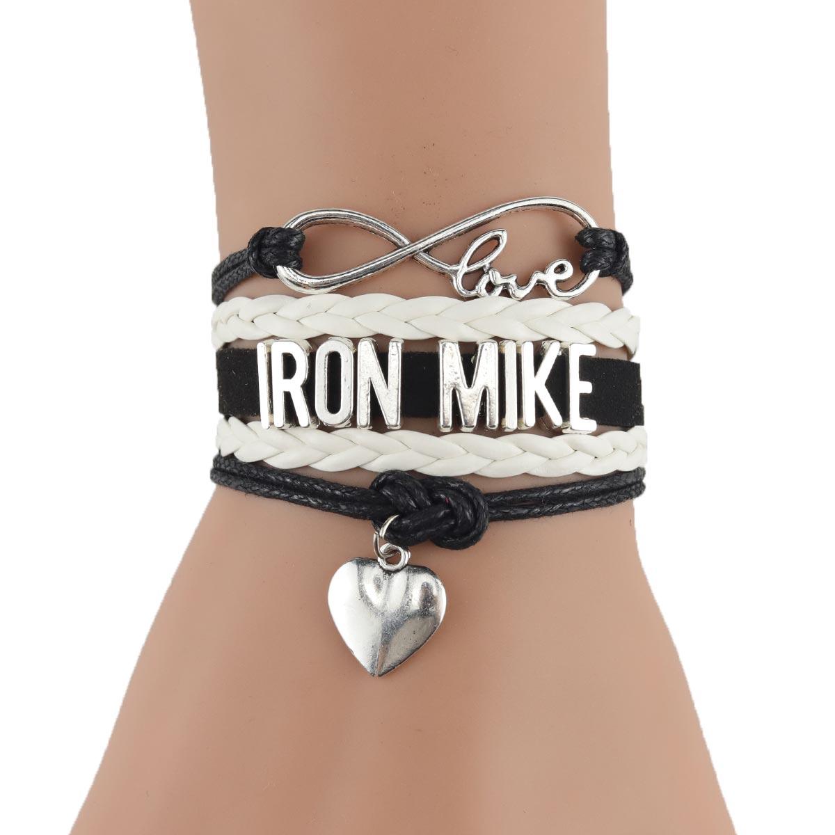 Pulsera Infinity love IRON MIKE para mujer, pulsera de cuero con cuentas, pulsera hecha a mano para mujer y hombre, joyería
