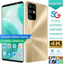 Hot Sale Galxy NOTE30U 6GB RAM 128GB ROM 5.8 Inch 8 Core Andriod 10 Mobile Phone Dual SIM Face Finge