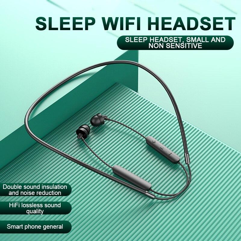 Auricular para dormir, inalámbrico por Bluetooth, auriculares internos de silicona blanda HiFi, auriculares con cancelación de ruido y micrófono