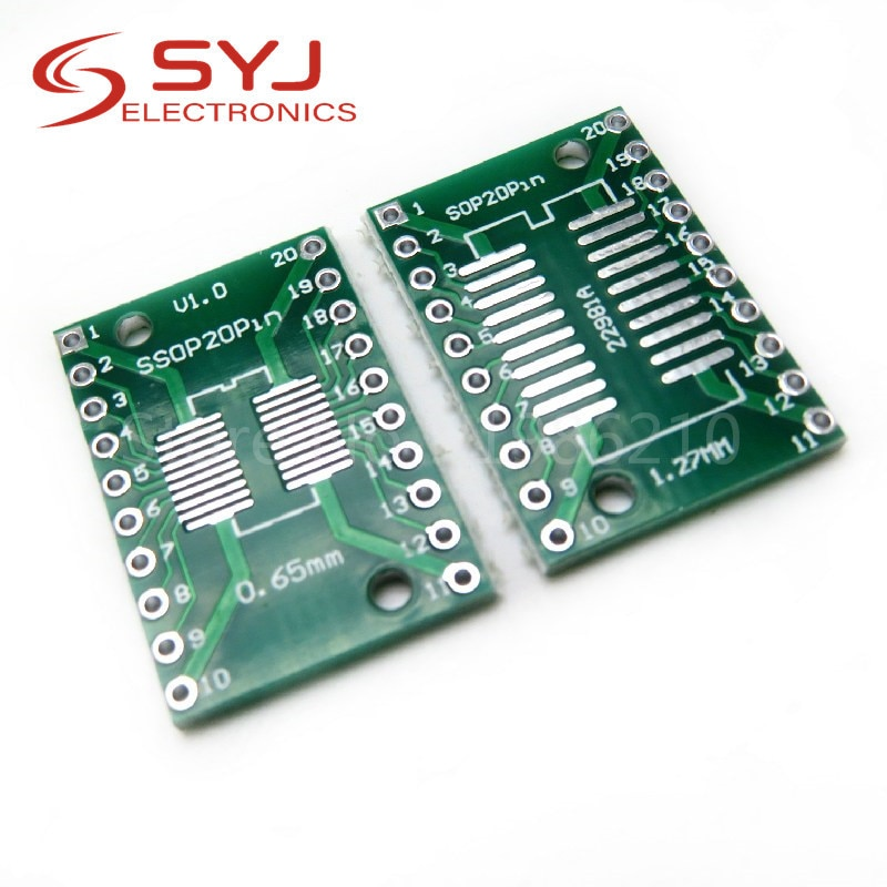 10 개/몫 SOP20 SSOP20 TSSOP20-DIP20 핀 보드 SMD-DIP 어댑터 0.65mm/1.27mm-2.54mm DIP 핀 피치 PCB 보드 컨버터