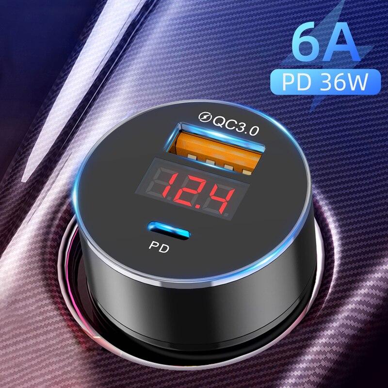 Lovebay 36W Quick Charge 3,0 USB Auto Ladegerät PD Typ-C LED Dual Ports Ladegerät Handy Aluminium auto-Ladegerät für Telefon 11 Pro