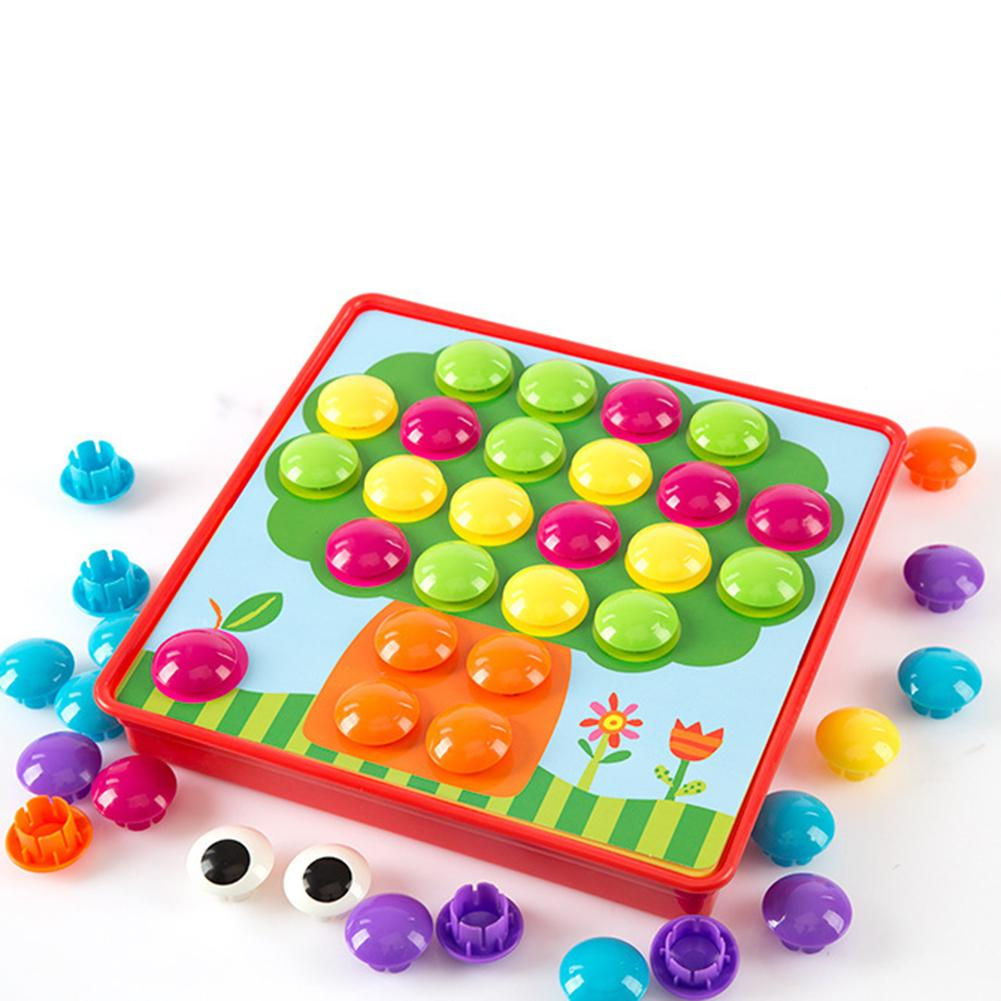 3D Puzzles Toy Colorful Buttons Assembling Mushrooms Nails Kit Baby Mosaic Composite Picture Puzzles