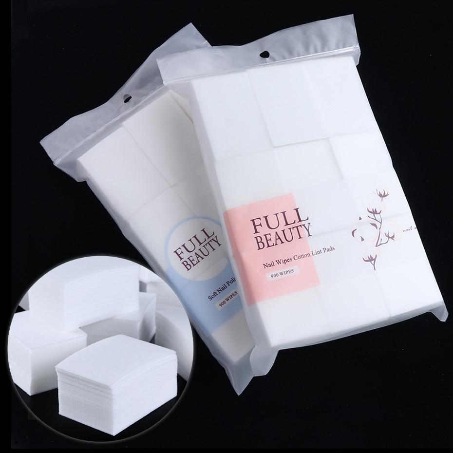 Хлопковые салфетки для снятия лака для ногтей, 900 шт, безворсовые обертывания, гелевые салфетки для чистки макияжа, бумажные салфетки, инструмент для маникюра