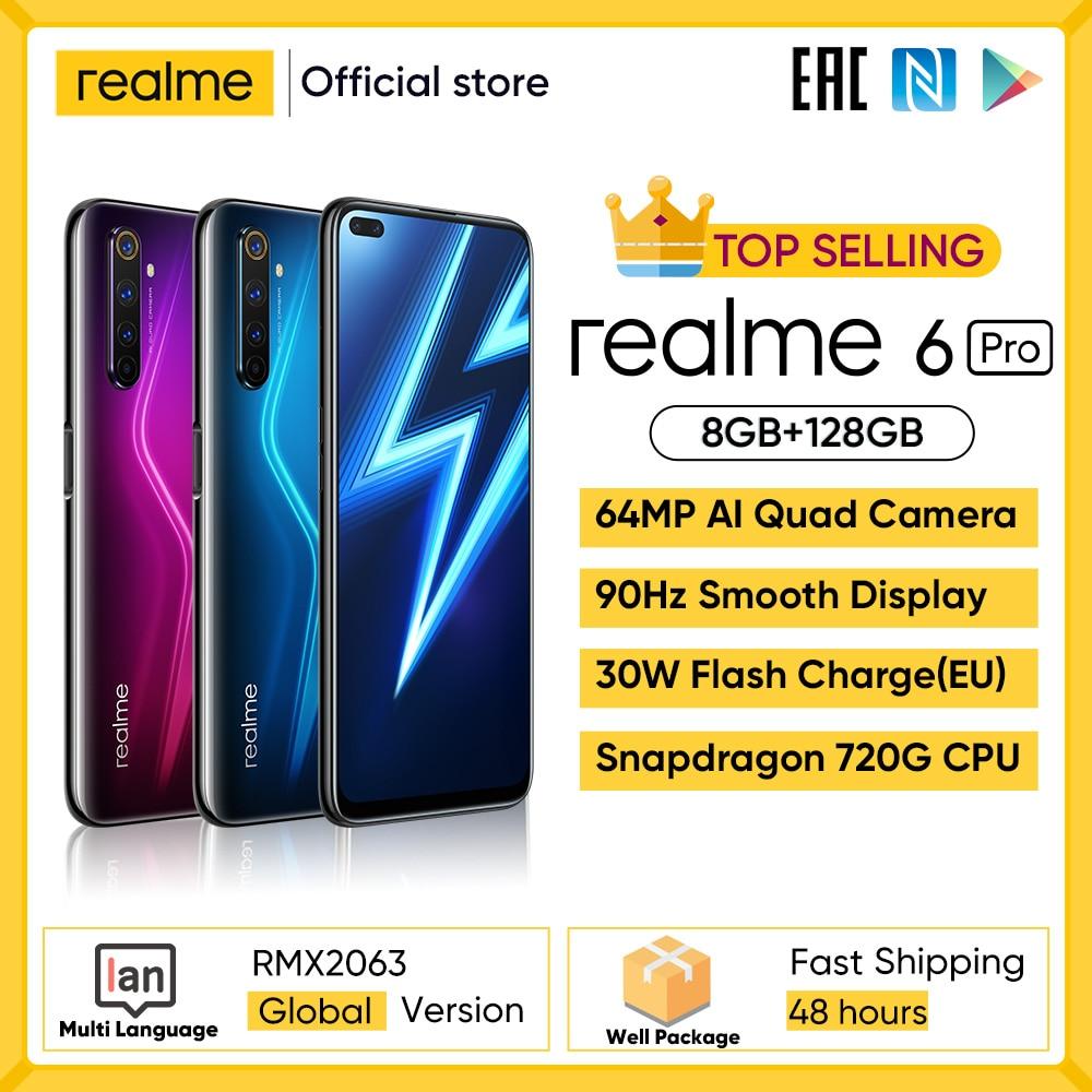 Realme 6 Pro мобильный телефон 6,6 дюймов 90 Гц Дисплей 64MP фотоаппарат 8 ГБ 128 Snapdragon 720G смартфон 4300 мА/ч, Батарея 30 Вт мгновенная зарядка