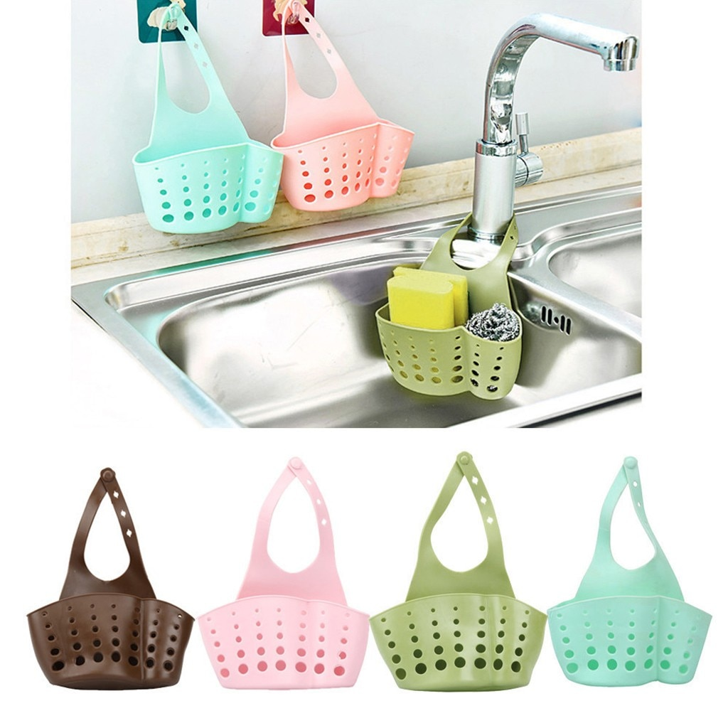 2021 New Household Items Portable Home Kitchen Hanging Bag Basket Bath Storage Tools Sink Holder Use
