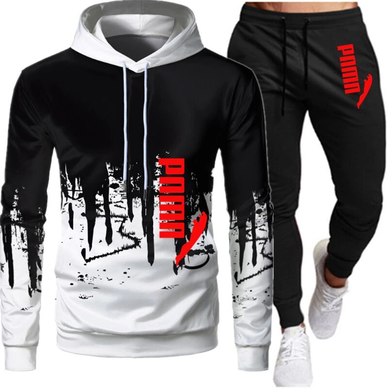 Mens sports two-piece track suit mens hoodie sportswear thick + pants casual sweatshirt and sweatpants