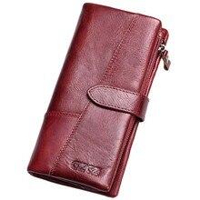 Gzcz femmes portefeuille en cuir véritable femme longue pochette dame argent sac magique fermeture éclair porte-monnaie (rouge L)