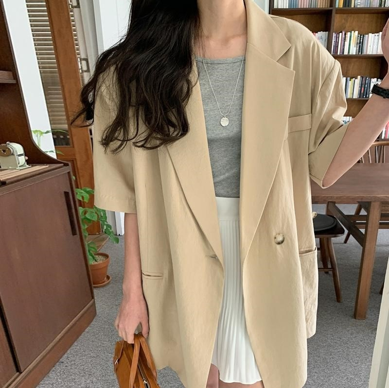 New Suits Female Vintage Summer Notched Collar solid Women Blazer Breasted Jacket Casual Pockets Wom