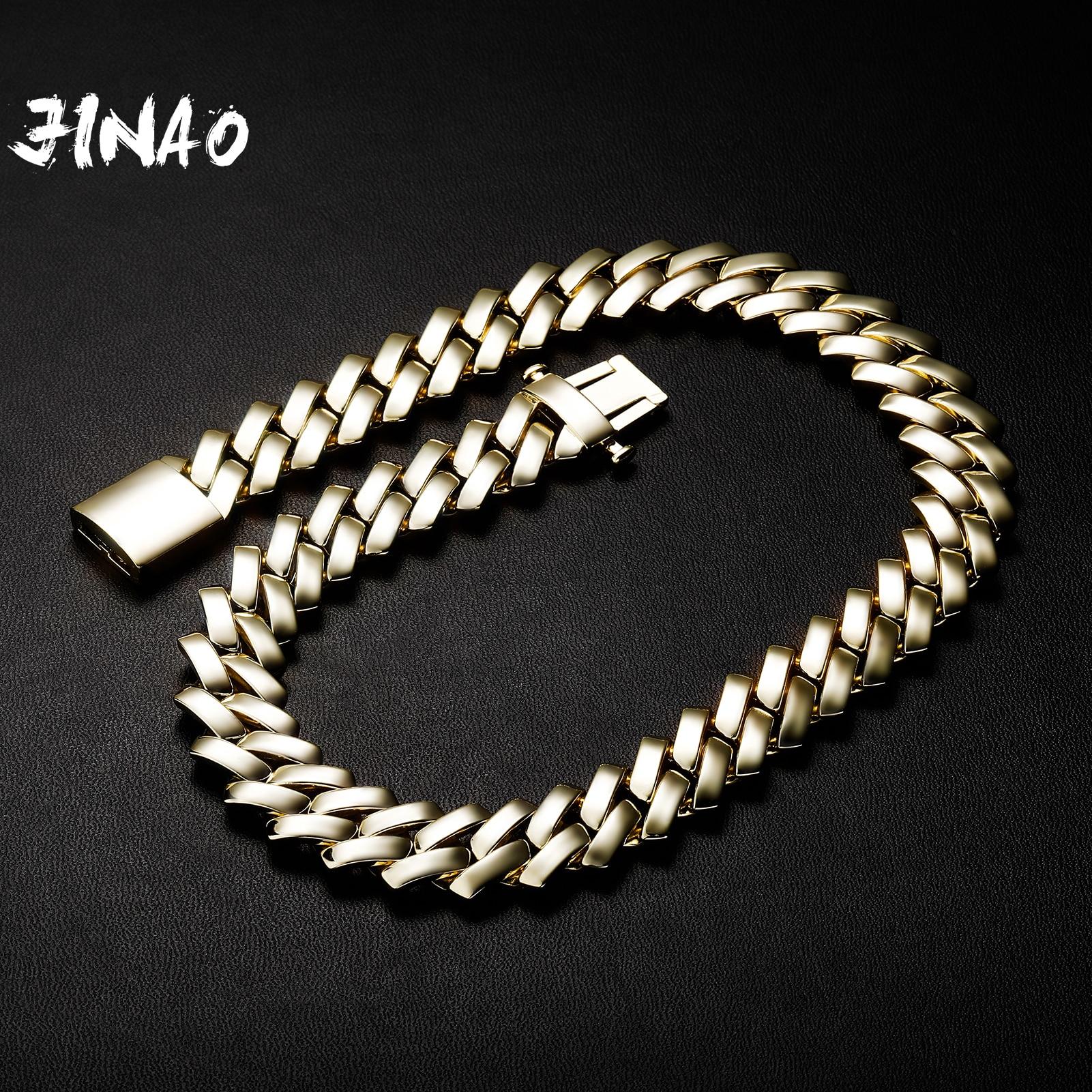JINAO 2021 جديد 18 مللي متر الماس على شكل الكوبية سلسلة عالية الجودة 6 مرات الذهب تصفيح قلادة الرجال والنساء مجوهرات للهدايا