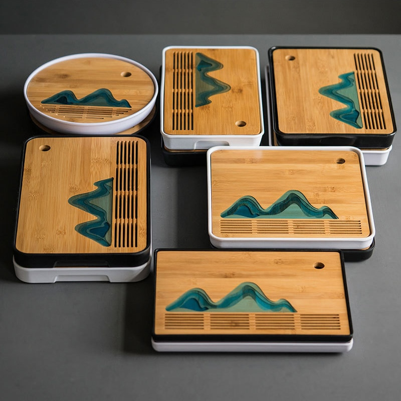 Bandeja de té de viaje de paisaje chino, bandeja de té portátil de bambú, juego de té kung fu de almacenamiento de agua de drenaje