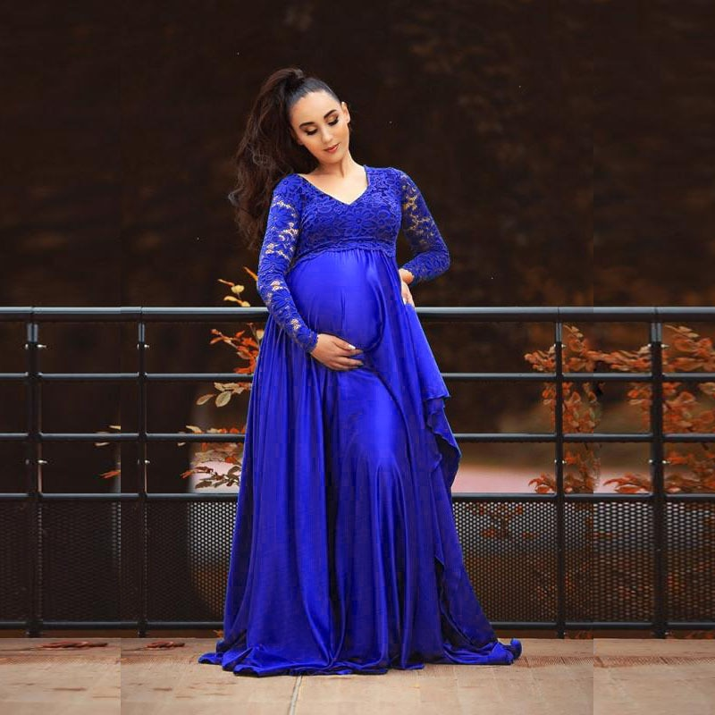 Long Sleeve Maternity Maxi Gown Dresses for Photo Shoot Elegant Lace High Split Pregnancy Gown Dress Photography Props enlarge