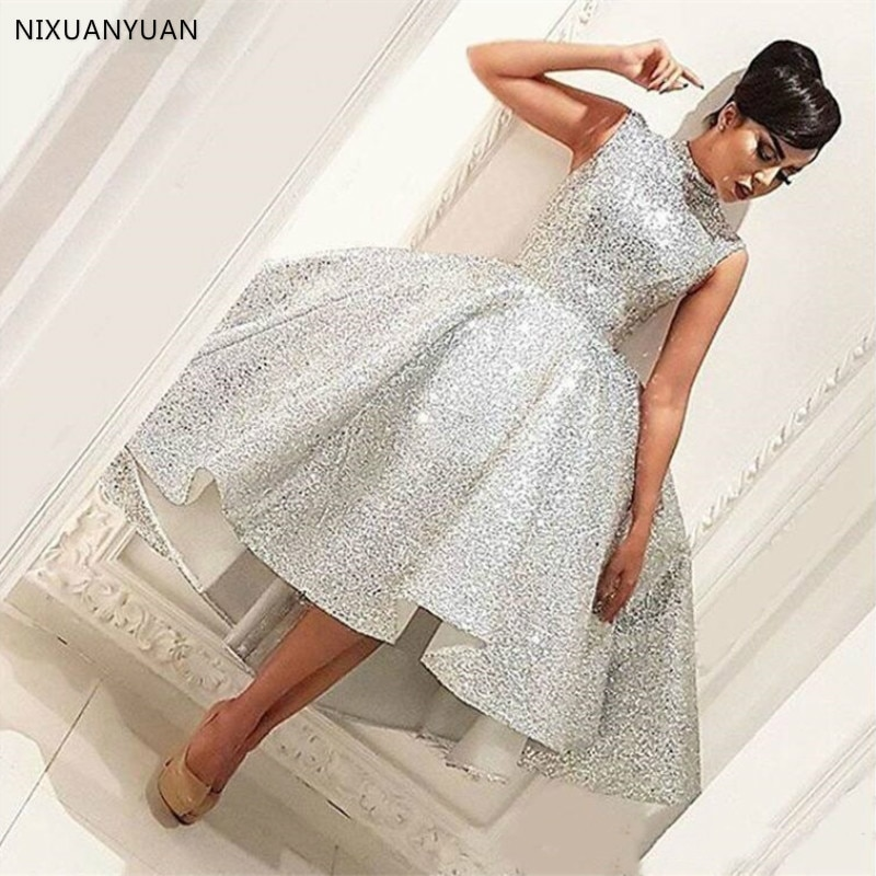 فستان سهرة عربي مطرزة ، ياقة عالية ، طول الشاي اللامع ، مجموعة جديدة 2021