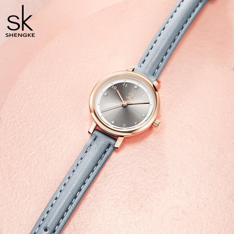 ShengKe New Women Quartz Watch Dress Lady Rhinestone Watches Genuine Leather Waterproof Top Luxury Brand Fashion Clock Girl Gift enlarge
