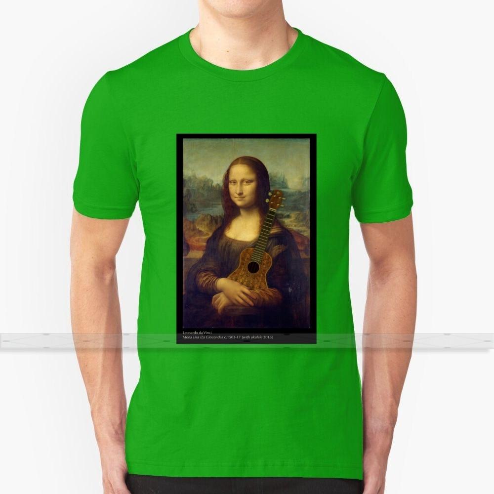 Mona lisa [com ukulele] camiseta masculina impressão 3d verão em torno do pescoço camiseta feminina ukulele uke mona lisa leonardo da vinci