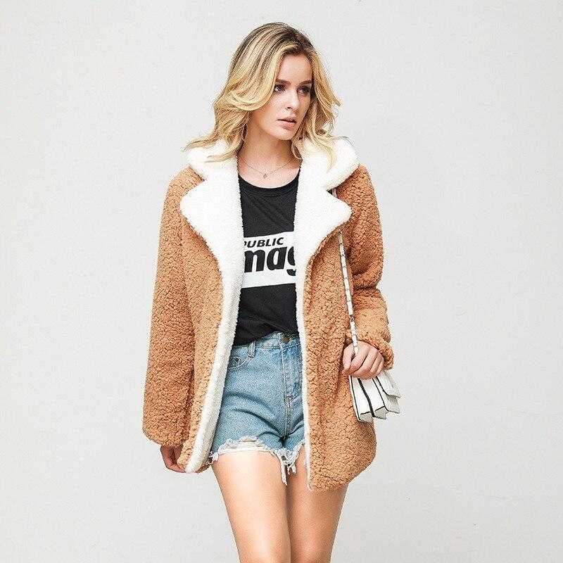 Abrigos y chaquetas de mujer cuello vuelto Otoño Invierno Think Faux abrigo...