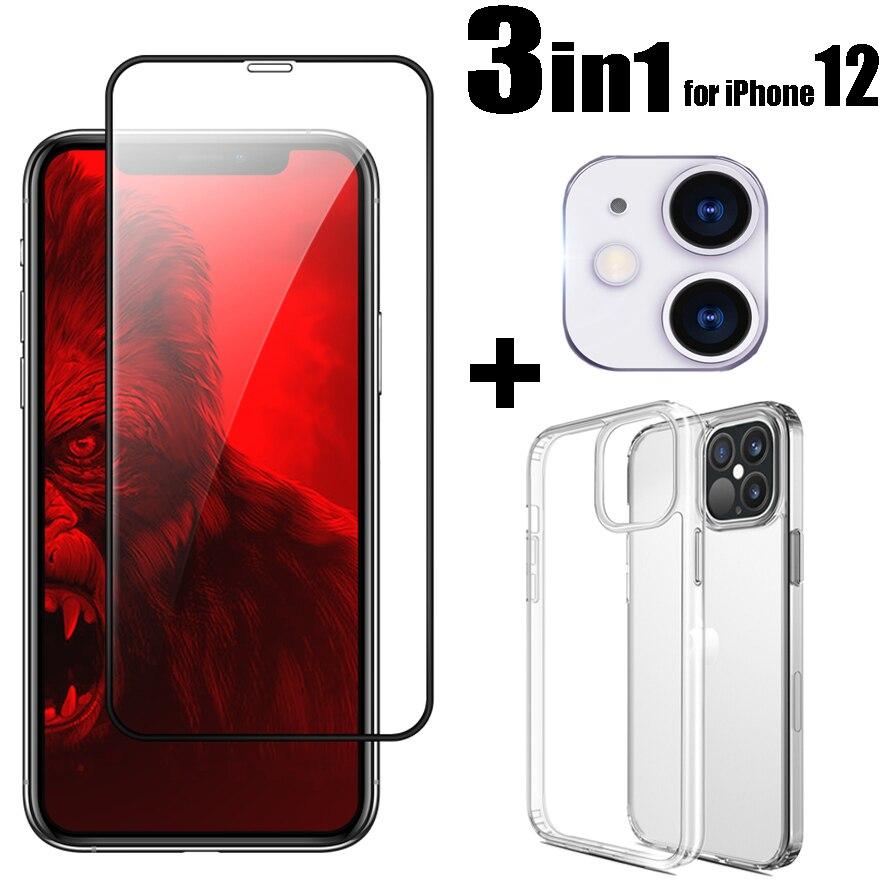3pcs per il iPhone 12 Mini 12Pro Max Temperato Vetro Dello Schermo Protector & Camera Lens & Caso di TPU Trasparente per iPhone12 Serie di Protezioni