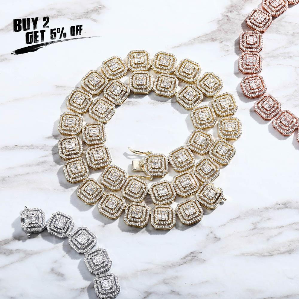 JINAO 13MM Square Zircon Large Size Tennis Chain Necklace High Quality Ice Out CZ Charm Hip Hop Fashion Jewelry For Women Gift