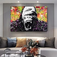 abstract black orangutan art posters and prints graffiti animal canvas paintings wall art pictures for modern living room decor