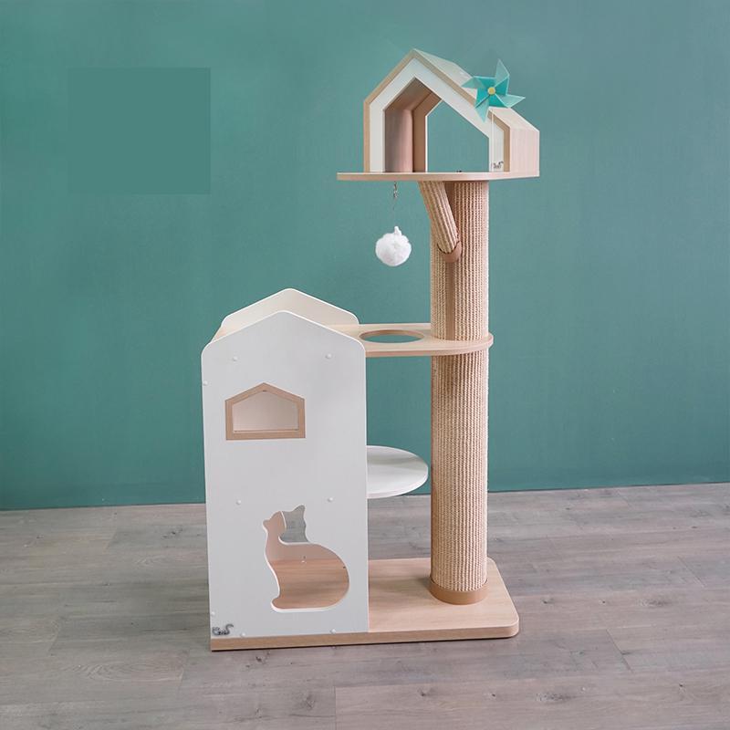 Cat Furniture, Big Castle, Color-blocking Wooden Cat Climbing Frame, Cat House Sisal Bite Resistant Scratching Post,pet Supplies