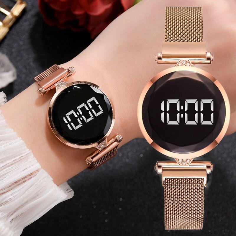 Reloj deportivo electrónico de moda para mujer, reloj de pulsera LED para mujer, reloj de malla de aleación para mujer, reloj de regalo para mujer
