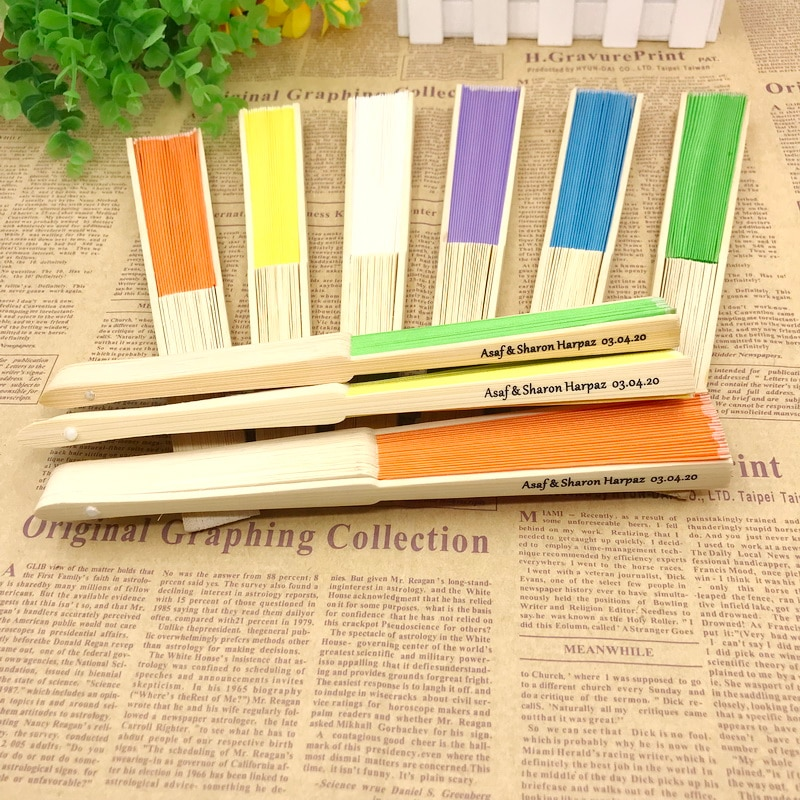 90PCS Customized Silk Cloth Fan with 17 Colors Personalized Wedding Foldable Hand-made Fan Outdoor Party Giveaways For Guest