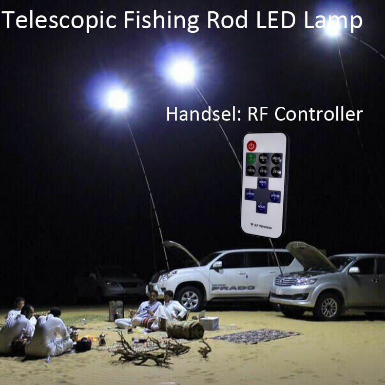 96W 12V Telescopic Fishing Rod LED Camping Lamp Lights Cigarette Lighter Plug