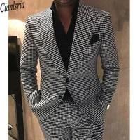 houndstooth groom tuxedos peak lapel men wedding tuxedo fashion men jacket blazer men prom dinnerdarty suitjacketpantstie