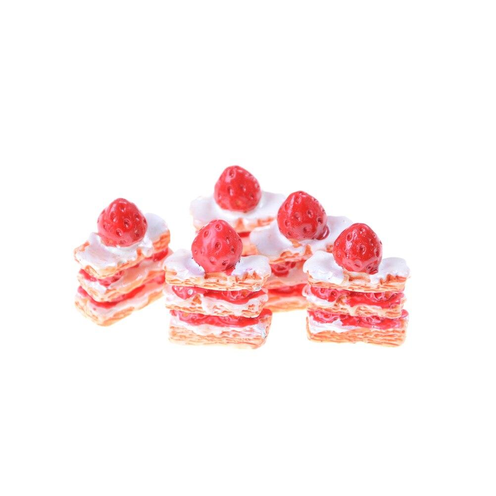 Figuras DIY de Mini fresa Napoleón, decoración para Tartas, cabujón, juguetes de cocina para muñecas, accesorios de la funda del teléfono 5 uds.