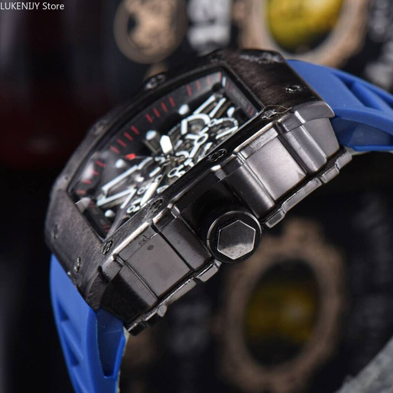 Fashion Luxury Men Watches Quartz Design Rubber Strap Red Black Blue Hot Selling Wristwatch Reloj Hombre enlarge