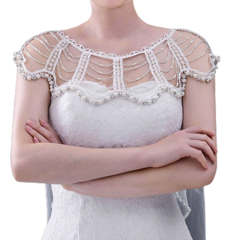 Faux Pearl Rhinestone Beading Bib Necklace Wedding Jewelry Shoulder Chain Shawl faux pearl espadrille flatform sliders