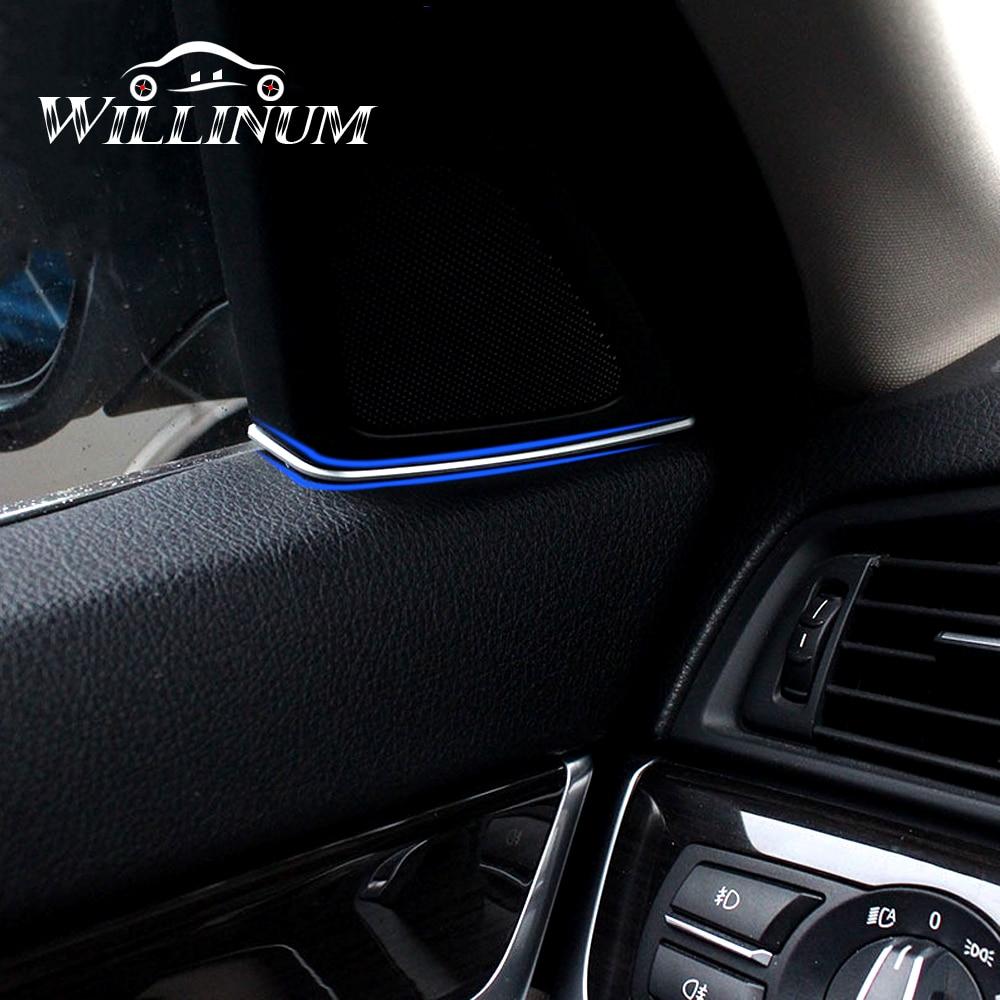 Car door tweeter slot plug stickers for BMW f10 f11 auto front door speakers frame trim sequins fit original ABS chrome sticker