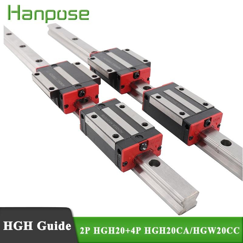 4 قطعة HGH20CA أو HGW20CC + 2 قطعة خطي السكك الحديدية HGH20 cnc أجزاء و L1200 1300 1400 1500 مللي متر دليل خطي القضبان كتلة HGW20CC