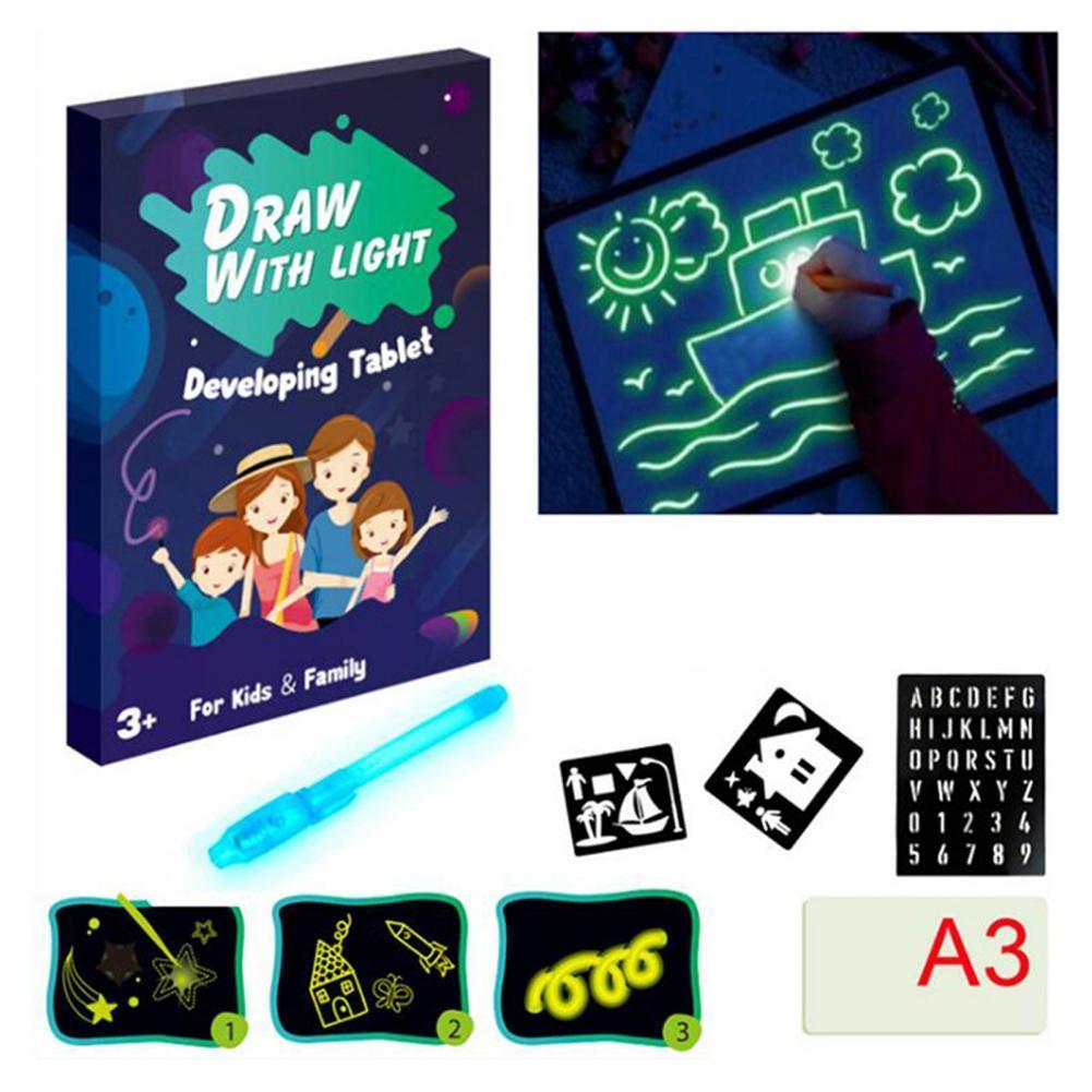 Fluorescent Light Writing Pad Children Magic Graffiti Drawing Painting Board  Luminous Board Educati