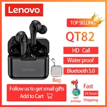 Original Lenovo QT82 wireless bluetooth headset V5.0 touch headset earpods stereo HD call with 400mA
