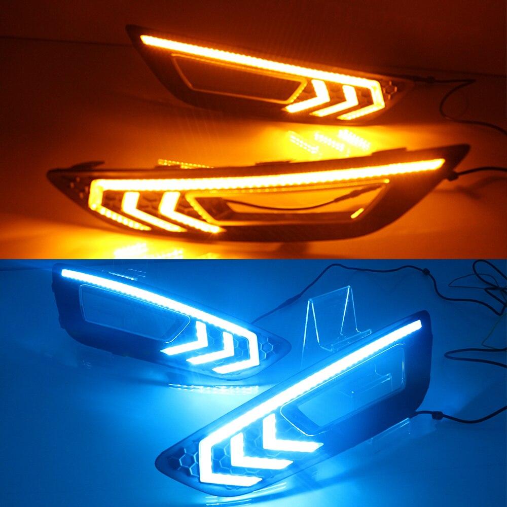 Luces De Circulación Diurna LED DRL intermitente para coche, 2 uds., luz de día con señal amarilla, luz antiniebla para Ford Focus 3 mk3 2015 2016 2017 2018