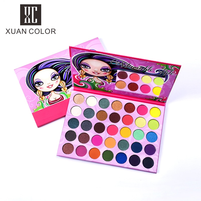 Beauty Glazed 35 Colors Long Hair Girl Candy Bright Color Eyeshadow Palette Waterproof Eye Shadow Palette Eye Makeup