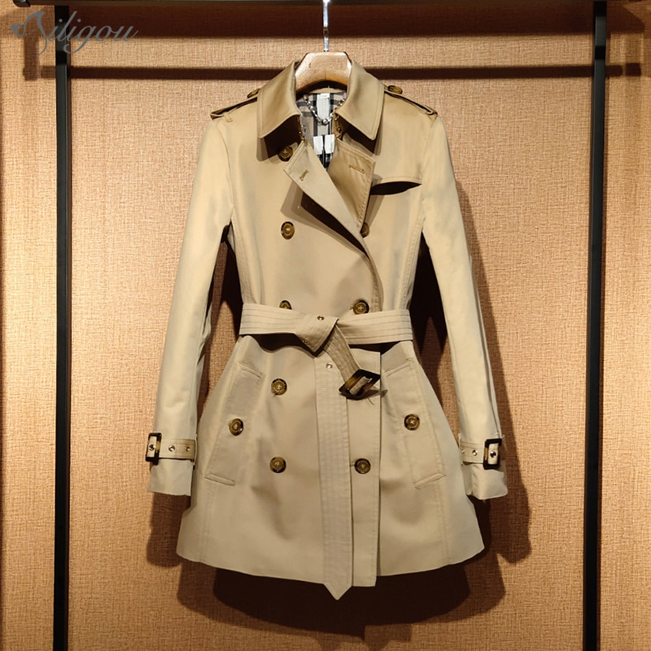 Ailigou 2021 New Lapel Long-Sleeved Button Coat Ladies Temperament Self-Cultivation Popular Khaki Do