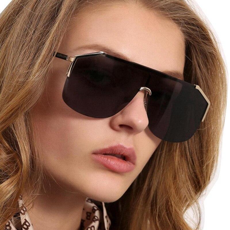 Na moda futurista óculos de sol das mulheres dos homens 2019 marca de luxo designer oversized escudo quadro óculos de sol preto tons femininos s120